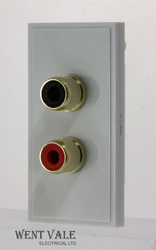 Hager Euromodule - WMMPP - 50 x 25mm Euro Red/Black Gold Plated Phono Plugs